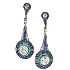 Sapphire Emerald Diamond Platinum Earrings