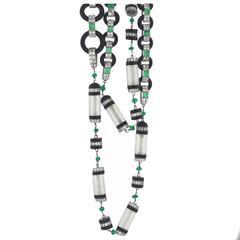 Amazing Quartz Crystal Onyx Jade Emerald Diamond Platinum Necklace
