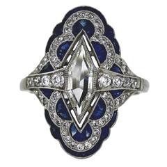 Fancy Kite Sapphire Diamond Platinum Ring