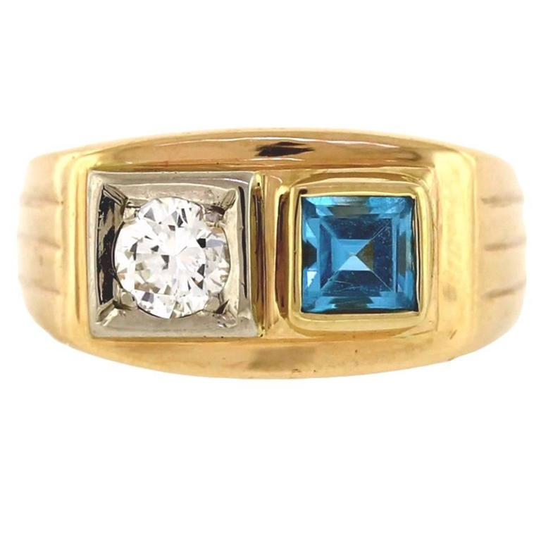Topaz Diamond Men s Two Stone Ring at 1stdibs