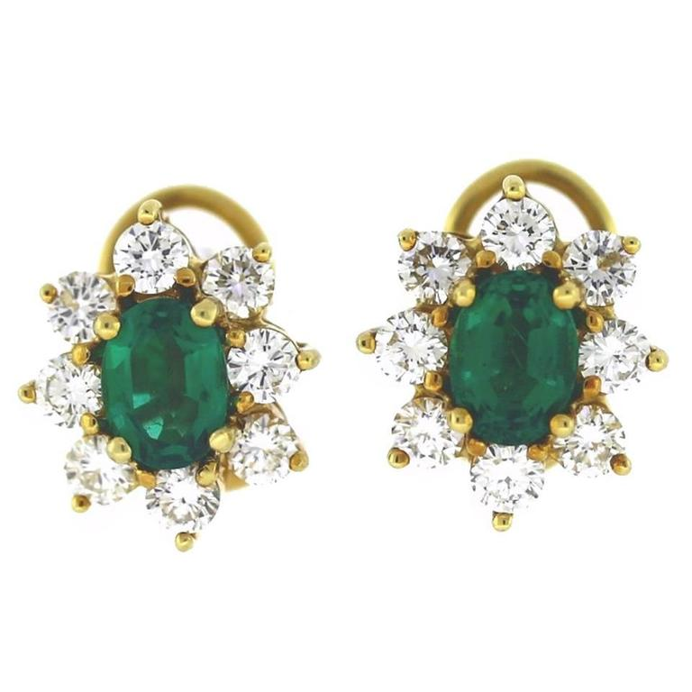Classic Oval Emerald Diamond Gold Cluster Earrings