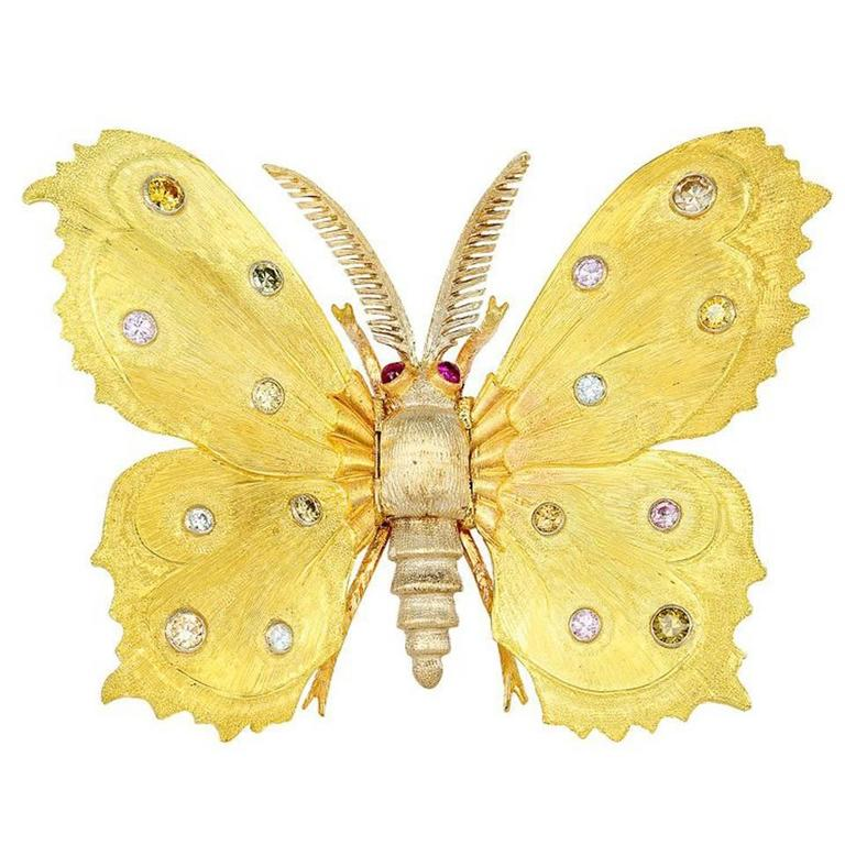 Buccellati Natural Color Diamond Butterfly Pin