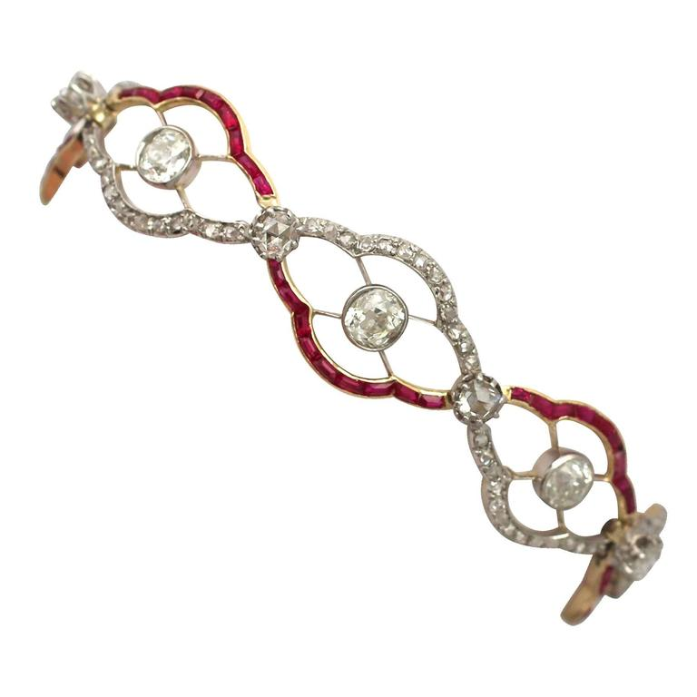 1910s Ruby and 4.31 Carat Diamond, Yellow Gold Bracelet 1