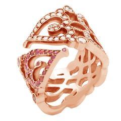 "Sabine Getty Ruby Diamond Gold ""Love"" Ring"