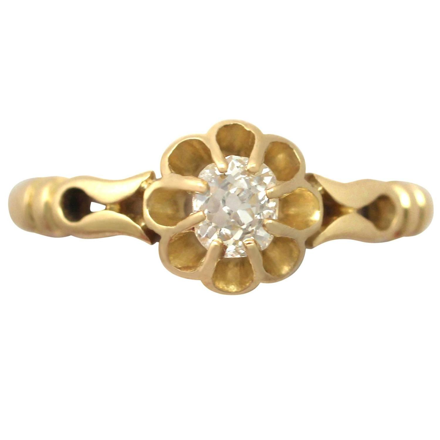 0 33Ct Diamond and 18k Yellow Gold Solitaire Ring Antique 1912