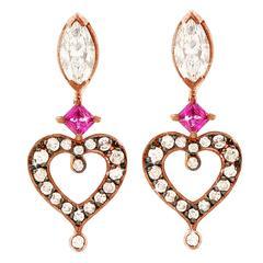 """Sabine Getty Ruby Diamond Gold """"Love"""" Earrings"""