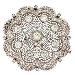 1960s Diamond Gold Florentine Honeycomb Brooch