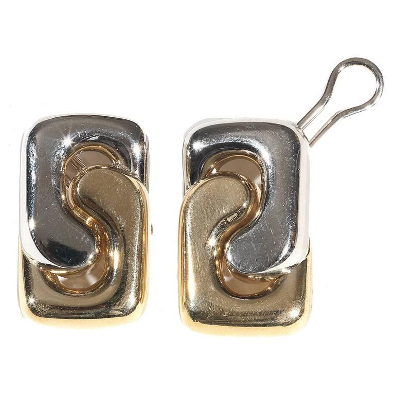 Pomellato Two Color Gold Ear Clips