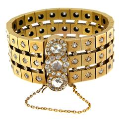 1950s Rose Cut Diamond Gold Bracelet