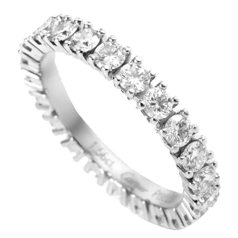 Cartier Diamond Platinum Eternity Band Ring 1