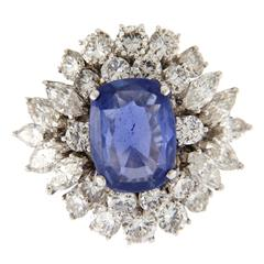 5.17 Carat Natural Ceylon Sapphire Diamond Gold Ring