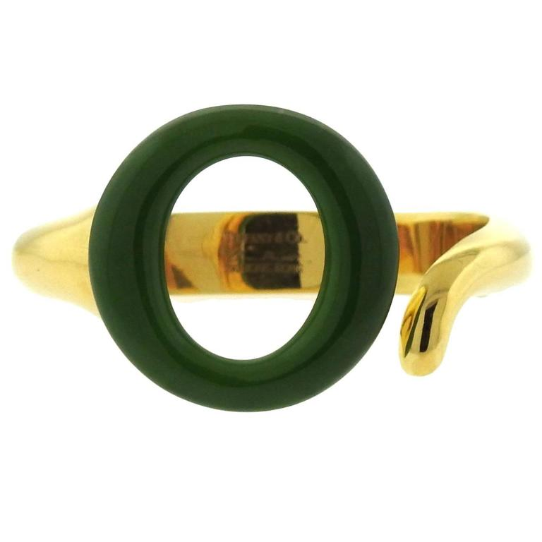 Tiffany & Co. Elsa Peretti Sevillana Jade Gold Bracelet