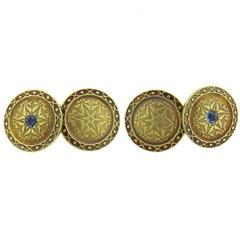 1920s Art Deco Sapphire Gold Cufflinks