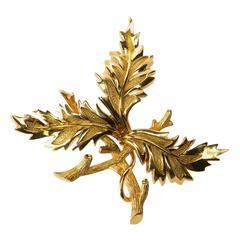 Tiffany & Co. Schlumberger Three Leaf Gold Brooch