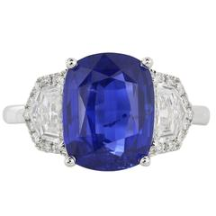 4.33 Carat Cushion Cut Sapphire Gold Ring