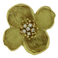 Tiffany & Co. Diamond Gold Dogwood Flower Brooch