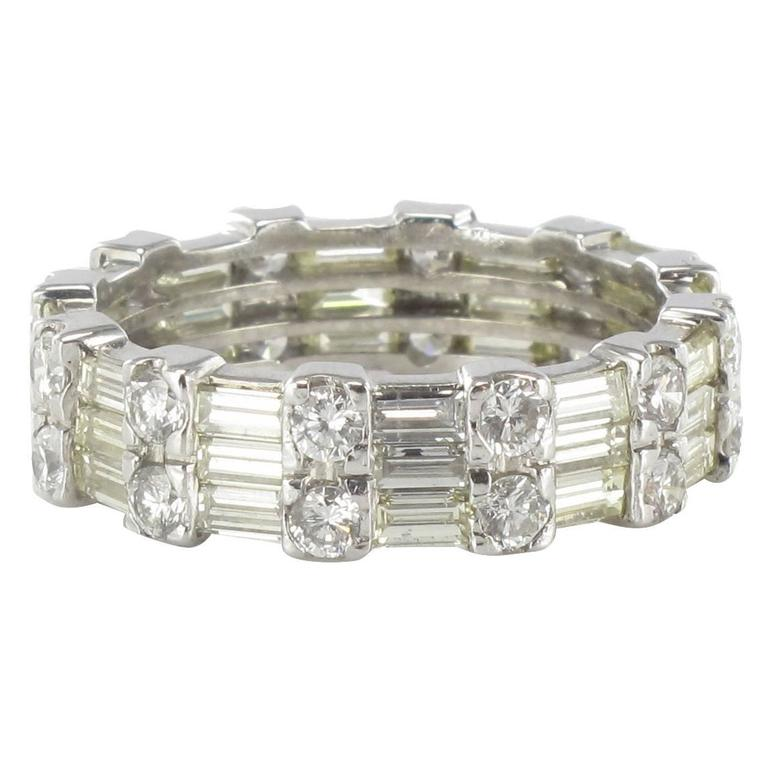 Brilliant And Baguette Diamond Gold Eternity Ring For Sale