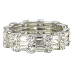 Brilliant and Baguette Diamond Gold Eternity Ring