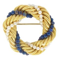 1950s Pearl Lapis Lazuli Twisted Gold Brooch
