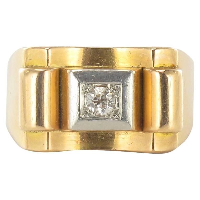 1940s French Diamond Gold Tank Ring