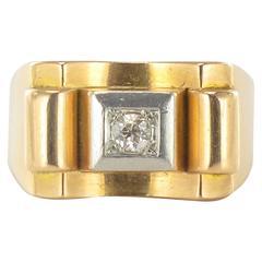 1940s French Diamond Gold Tank Ring