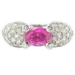 Modern 1.88 Carat Pink Sapphire 1.28 Carat Brillant Cut Diamond Gold Ring