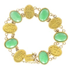 1920s Jade 18 Karat Yellow Gold Bracelet