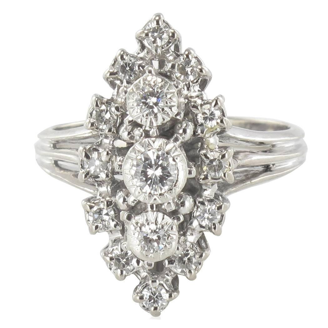 1960s French Diamond Gold Platinum Marquise Ring at 1stdibs
