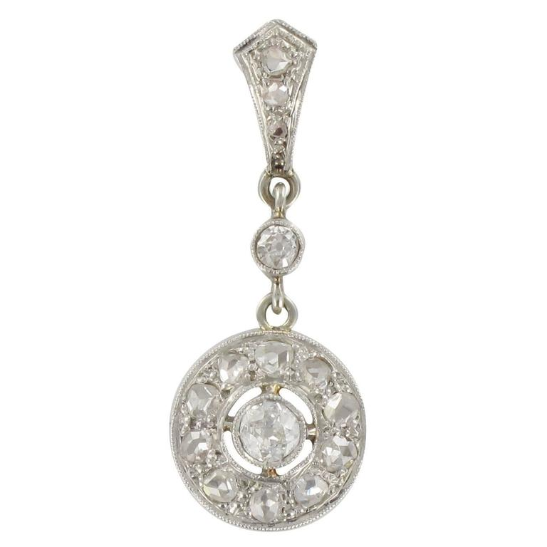 1920s Art Deco Diamond Gold Pendant  1