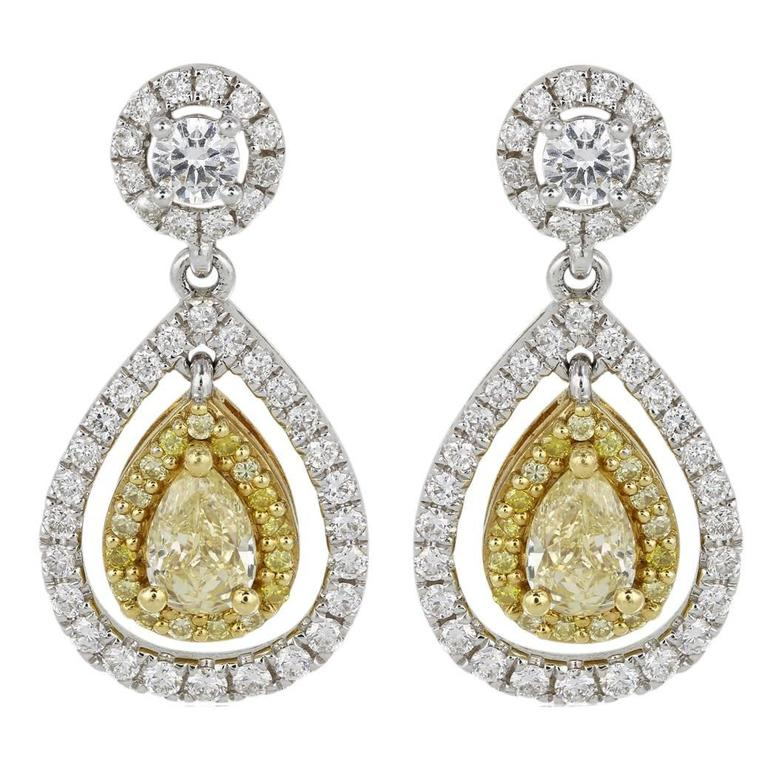 Canary Pear Shaped Diamond Drop Two Color Gold Earrings