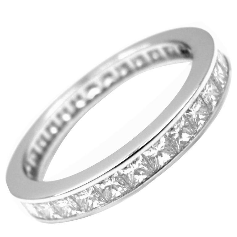 cartier princess cut platinum eternity band ring