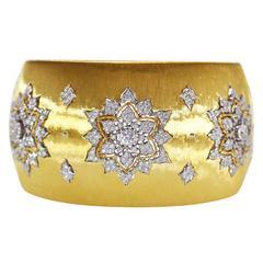 Buccellati Diamond Gold Wide Cuff Bracelet