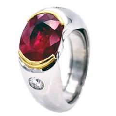 4.11 Carat  Ruby Diamonds Gold Engagement Ring