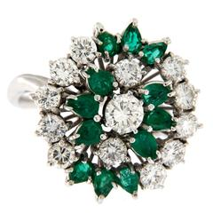 1960s Emerald Diamond Gold Ring