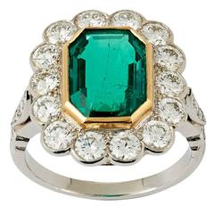 Colombian Emerald Diamond Gold Platinum Cluster Ring