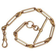 9k Yellow Gold Fancy Albert Watch Chain - Antique Circa 1900