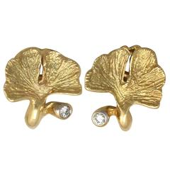 0.04Ct Diamond and 18k Yellow Gold Earrings - Vintage Belgian Circa 1980