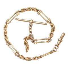 9k Yellow Gold Fancy Albert Watch Chain - Antique 1893