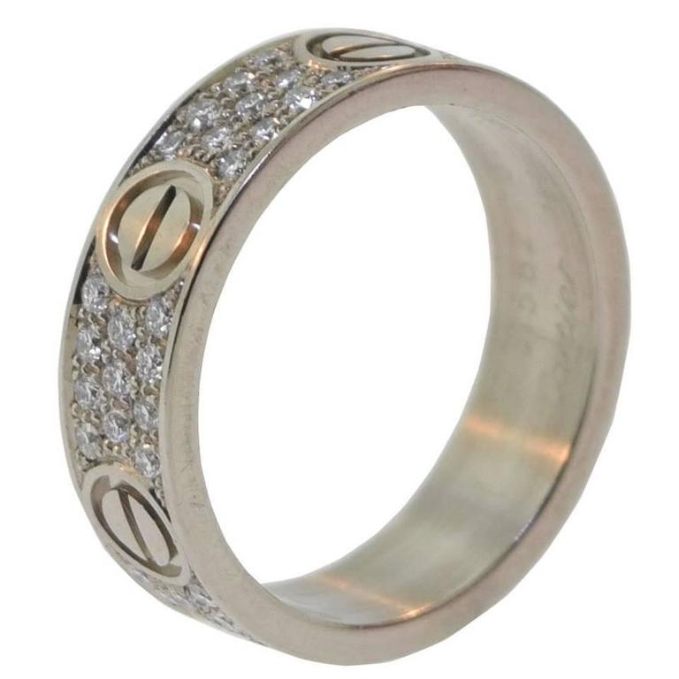 Cartier Diamond Pave Gold LOVE Ring And Wedding Band At 1stdibs