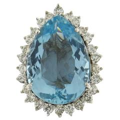 Classic Aquamarine Diamond Platinum Ring