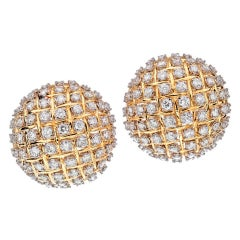 Large Diamond Gold Dome Earrings