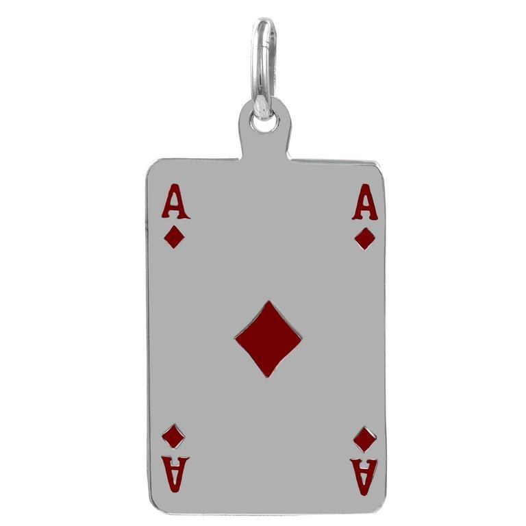 Large Enamel Sterling Silver ACES Pendant Charm