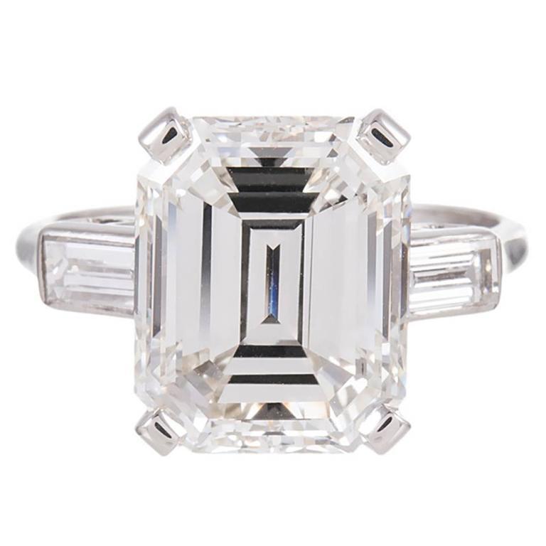 6 10 carat cert emerald cut platinum solitaire