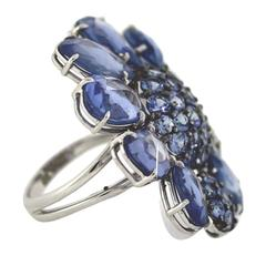 Sapphire Diamond Gold Articulating Flower Ring