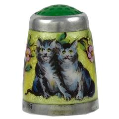 Antique Enamel and Sterling Cat Thimble