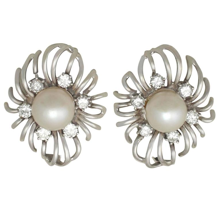 Cultured Pearl and 0.84Ct Diamond, 18k White Gold Stud Earrings - Vintage 1
