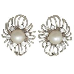 Cultured Pearl and 0.84Ct Diamond, 18k White Gold Stud Earrings - Vintage