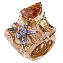 Misani Citrine Emerald Diamond Gold Ring