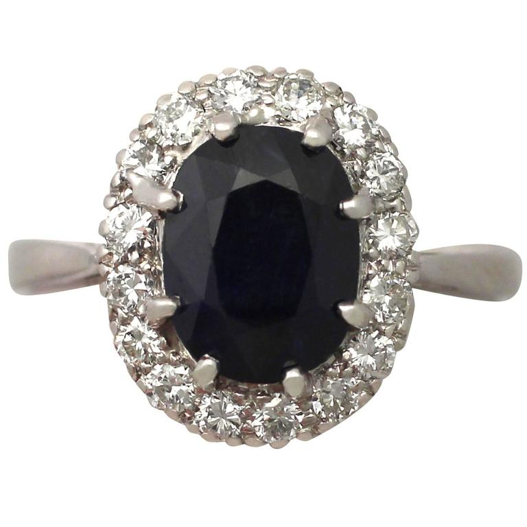 1950s 3.63 Carat Sapphire and Diamond Platinum Cluster Ring 1