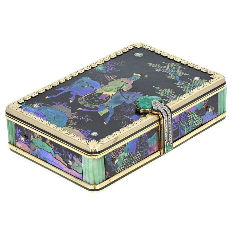 Cartier Jade Diamond Gold Lac Burgauté Chinoiserie Vanity Case